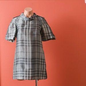 Burberry Plaid Gray Silk Mini Dress